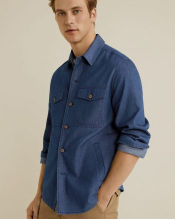 کت پیراهن  آبی نیلی مردانه پنبه MANGO Man 1564834755