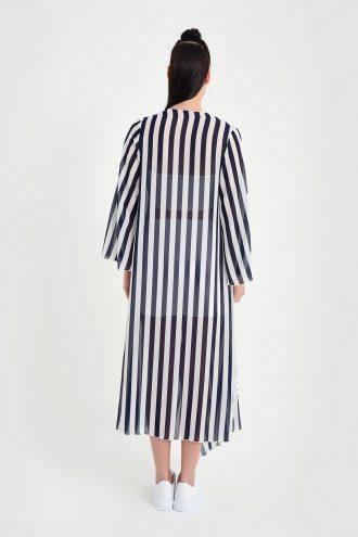 کیمونو ابریشم شیفونی بلند سفید سورمه ای زنانه  Laranor 156551734