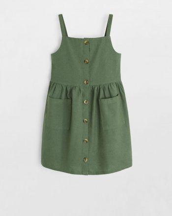 پیراهن نخی دکمه دار بچه گانه دخترانه  MANGO Kids 156499115