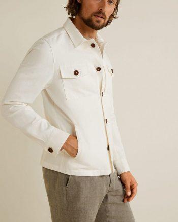 کت کتان  جیب دار سفید مردانه پنبه MANGO Man 1564834746