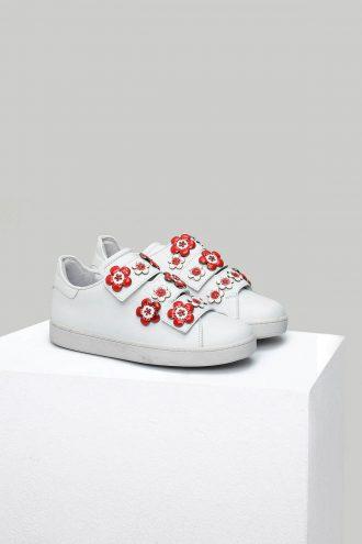 کفش اسپرت اسنیکر زنانه قرمز  سفید چرم 100% اصل الاستن Derimod 1565758549