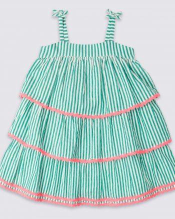 پیراهن خط دار  بچه گانه دخترانه سبز پنبه Marks & Spencer 1565561