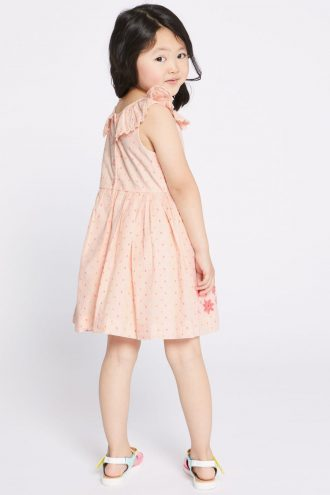 پیراهن بدون آستین کار شده بچه گانه دخترانه صورتی  Marks & Spencer 1565534