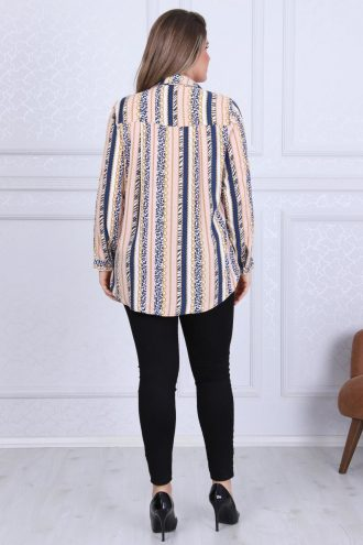 پیراهن طرحدار متقارن نارنجی کرم سالمون زنانه  D'SEN STORE 156581334