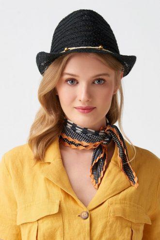 کلاه حصیری طرح دار مهره مشکی زنانه  Dilvin 1565812737