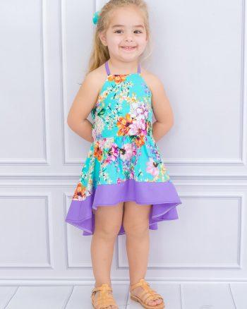 پیراهن گل دار بچه گانه دخترانه فیروزه ای  PixyLove 1564999511
