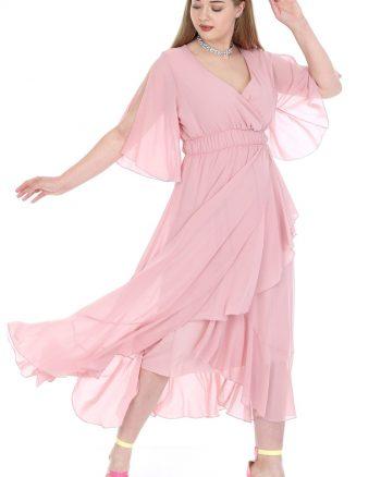 پیراهن بلند ابریشم شیفونی صورتی روشن زنانه  ANGELINO 156491491
