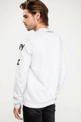 سویشرت چاپی سفید مردانه الاستن DeFacto 156569845