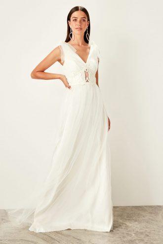 پیراهن لباس شب طرح دار تکه دوزی شده شیری  TRENDYOLMİLLA 1565333994