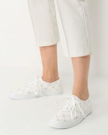 کفش اسپرت اسنیکر زنانه سفید-نقره ای الاستن Pierre Cardin 1566367554