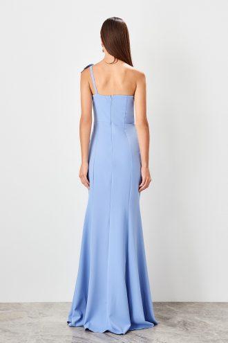 پیراهن لباس شب طرح دار والان آبی  TRENDYOLMİLLA 1565426463