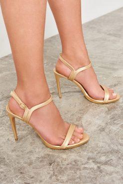 کفش پاشنه بلند زنانه  طلایی TRENDYOLMİLLA 1564718946
