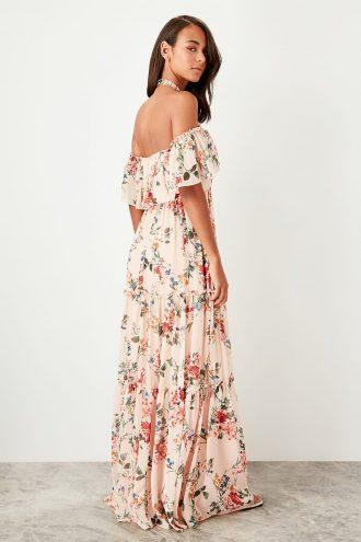 پیراهن لباس شب طرحدار طرح دار یقه صورتی روشن  TRENDYOLMİLLA 1565426455