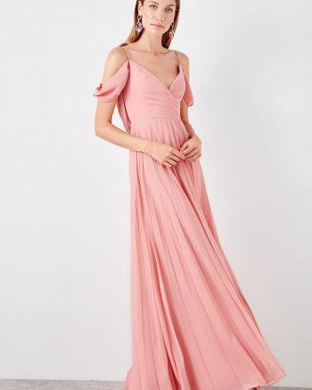 پیراهن لباس شب  رنگ گل رز TRENDYOLMİLLA 1565264136