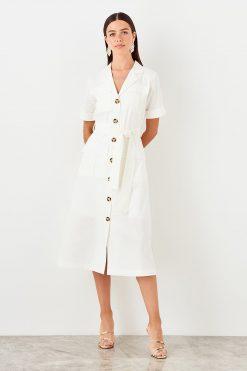 پیراهن دکمه دار سفید  TRENDYOLMİLLA 156525493