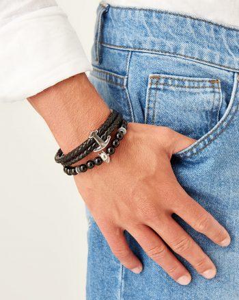دستبند دار 100% اصل و نگین مردانه  رنگ چرم TRENDYOL MAN 156594797