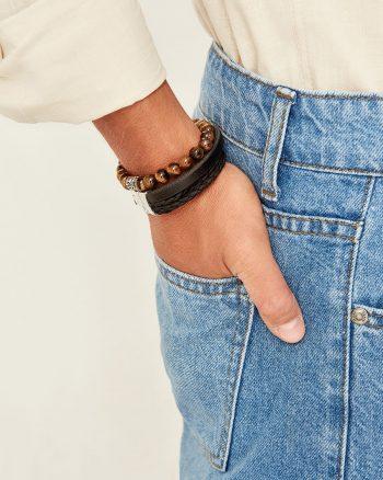 دستبند  100% اصل و مهره دار مردانه رنگ چرم TRENDYOL MAN 1565948