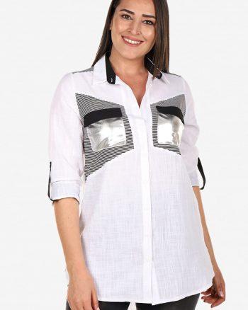 پیراهن سفید مشکی زنانه  Tuvid 15658154