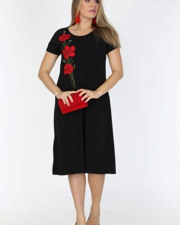 پیراهن  طرح دار مشکی زنانه ویسکوز MJORA 156581456