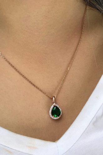 گردنبند نقره ای نگین دار سبز قطره زنانه  Midyat Gümüş Dünyası 1565784653
